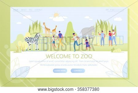 Welcome To Zoo, Visitors And Animals, Vector. People Walk In Park Which Zoo Is Located. Wild Animals