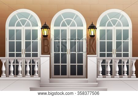 Classic Palace Facade With Glass Front Door Porch And Terrace With Balustrade Realistic Background V