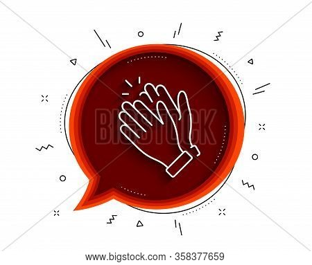 Clapping Hands Line Icon. Chat Bubble With Shadow. Clap Sign. Victory Gesture Symbol. Thin Line Clap