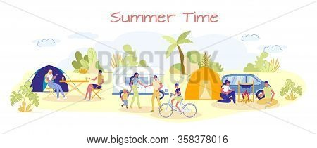 Summer Time Banner With Campground And People Cartoon Characters Enjoying Summer Vacation Outdoor. T