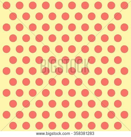 Easter Pattern Polka Dots. Template Background In Red And Yellow Polka Dots. Seamless Fabric Texture