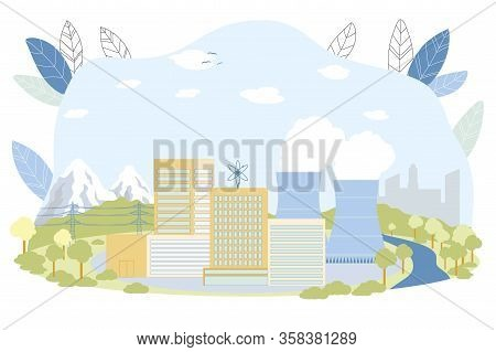 Nuclear Power Station Vector Illustration. Steam Turbine Energy To Electricity Production. Reactor,