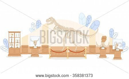 Paleontological Museum Interior Vector Illustration. Tyrannosaurus Dinosaur Skeleton, Extinct Animal