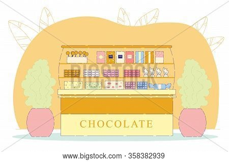Colorful Chocolate And Sweets Flat Cartoon Vector Illustration. Candy Shop With Sweets, Cookies, Bis