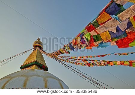 Beautiful Boudhanath stupa in Kathmandu, Nepal. The Buddha Stupa dominates the skyline; it is one of the largest stupas in the world.