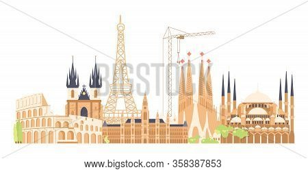 Journey European To The Most Renowned Sights. Architectural Buildings Of The Famous European Cities.
