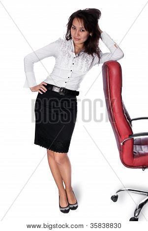 Young Asian Woman Leaning On Chair