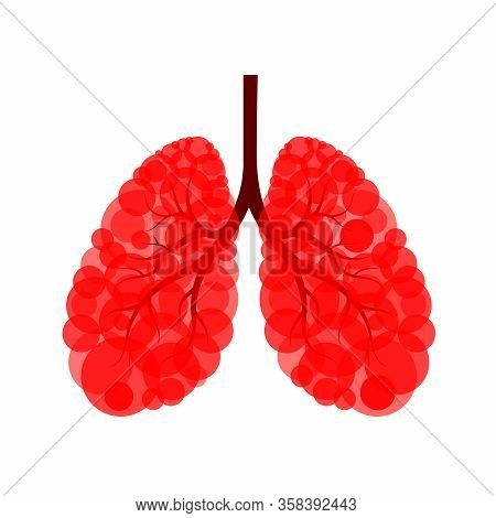 Red Circle In Human Lung Shape. Lung  Disease With Virus. Virus Cells Eating Lung. Damaged Lung With