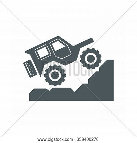 Off Road Vehicle Vector Icon Design On White.