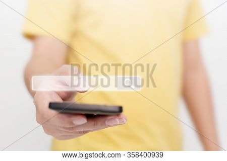 Man Using Smartphones To Find What They Are Interested In. Searching Information Data On Internet Ne