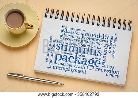 stimulus package word cloud in sketchbook, relief bill during covid-19 coronavirus pandemic concept
