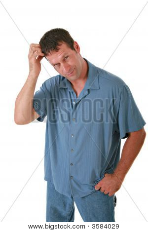 Casual Dressed Man Scratching Head