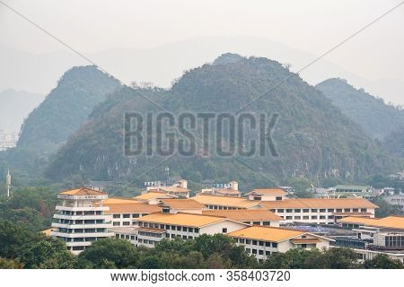 Guilin, Guangxi Province, China - Nov 6, 2019 : Guilin Hills And City Landscape Aerial View In The H