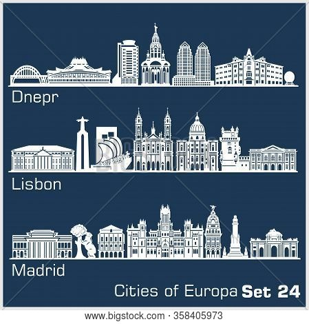 European Cities - Dnepr, Lisbon, Madrid. Detailed Architecture.