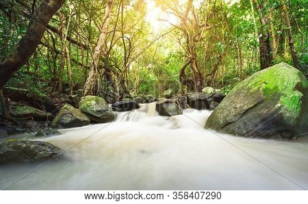 Thao To Waterfall. River Background With Small Waterfalls In Tropical Forest.it Flows From The Rainf
