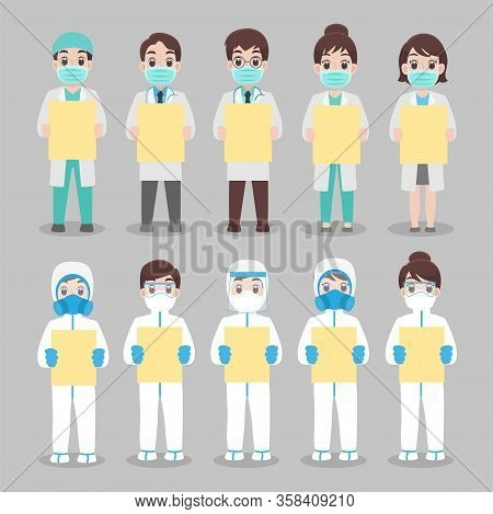 Set Of Doctor And Nurse In Personal Protective Suit Wear A Surgical Protective Medical Mask For Prev