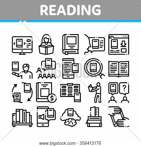 Reading Library Book Collection Icons Set Vector. Reading And Learning, Smartphone And Computer Educ