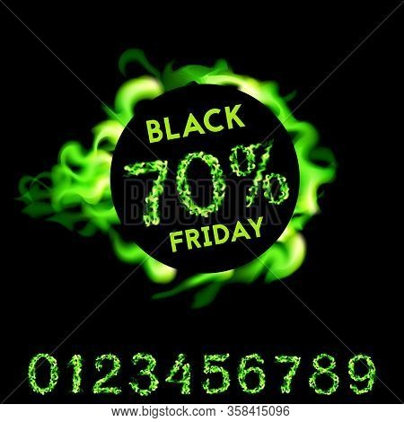 70 Percent Off Black Friday. Green Neon Fire Design On Black Background. Vector Illustration