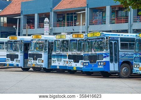 Colombo, Sri Lanka - February 10, 2020: City Buses Of Route 122 At The Gunasinghapura Main Bus Stand