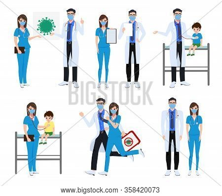 Medical Front Liners Set Character Vector Concept Design. Covid-19 Doctor And Nurse Characters With