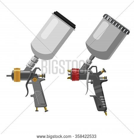 Set Paint Spray Gun Professional Tool Airbrush Isolated On White Background