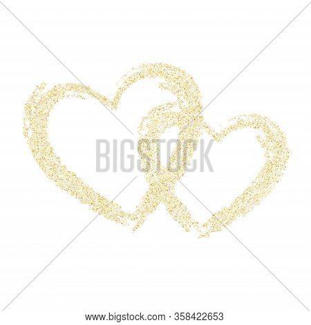 Gold Sparkles Glitter Dust Metallic Confetti Vector Background. Glossy Golden Sparkling Background.