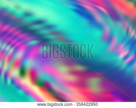 Hologram Effect Glitch Gradient Vector Design. Lucid Rainbow Spectrum Background. Liquid Colors Neon