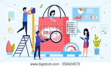 Personal Branding Technology. Brand Testing Process. Woman Customer In Shopping Bag On Weight Scale.