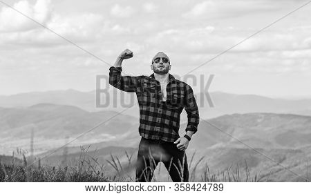 Power Of Nature. Man Stand On Top Of Mountain Landscape Background. Hiking Concept. Discover World.