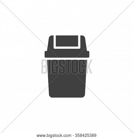 Waste Bin Vector Icon. Filled Flat Sign For Mobile Concept And Web Design. Swing Lid Bin Glyph Icon.