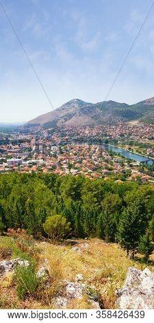 Beautiful Summer Landscape. View Of Trebinje City And Trebisnjica River From Crkvina Hill On Sunny D