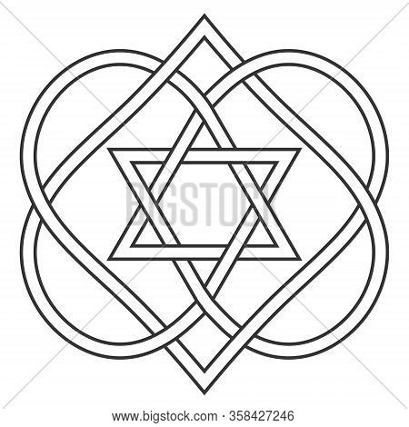 Celtic Knot Entwining Hearts And Stars Of David, Vector Jewish Heart Shape With Star Of David Art Tw