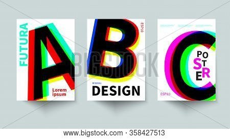 Swiss Posters With Typography, Color Letters On White Background, Scandinavian Design, Vector Bauhau