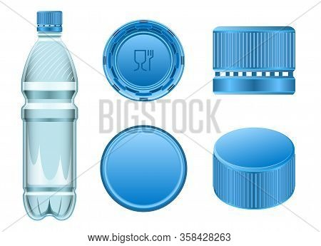 Plastic Cork Vector Realistic Set Icon. Vector Illustration Bottle Of Cap On White Background. Isola