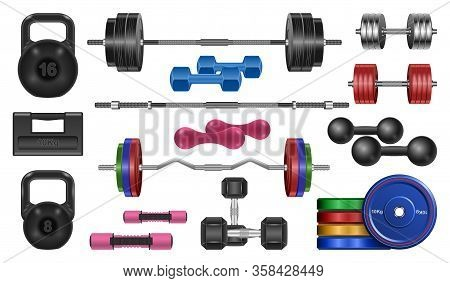 Dumbbell Of Fitness Vector Realistic Set Icon. Vector Illustration Barbell On White Background. Isol