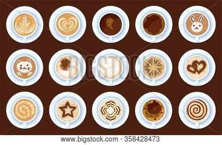 Top View Of Coffee Isolated Cartoon Set Icon. Vector Cartoon Set Icon Cup Cappuccino. Vector Illustr