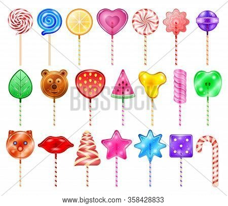 Lollipop Of Candy Vector Realistic Set Icon. Vector Illustration Sweet Lollypop On White Background.