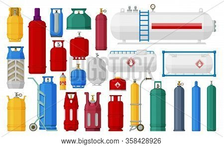 Gas Cylinder Vector Cartoon Set Icon. Vector Illustration Ipg Container On White Background. Isolate