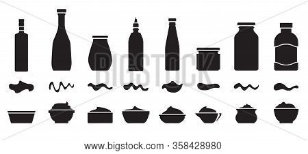 Sauce For Bbq Black Vector Set Icon.vector Illustration Icon Ketchup And Dip. Isolated Illustration