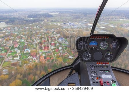 Moscow, Russia - July 21, 2014:robinson R44 Is Four-seat Light Helicopter. One Of Worlds Most Popula