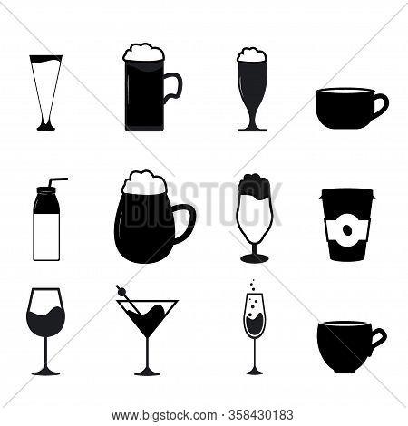 Set Of Drink Icon Variations. Symbol Beverage Design