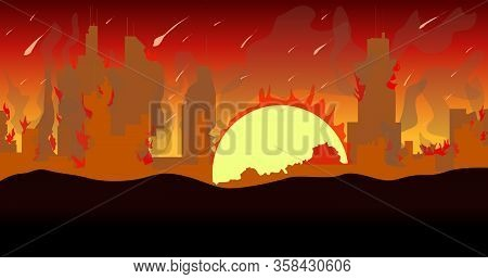 Ruined City Building Silhouette With Moon And Red Sky.vector Illustration