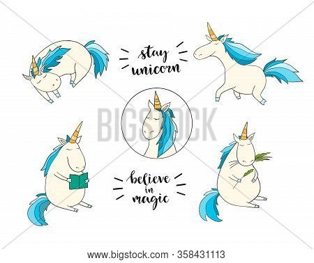 Set Of Funny Unicorns On The White Background. Vector Illustration. Magic Art For Poster, Invitation