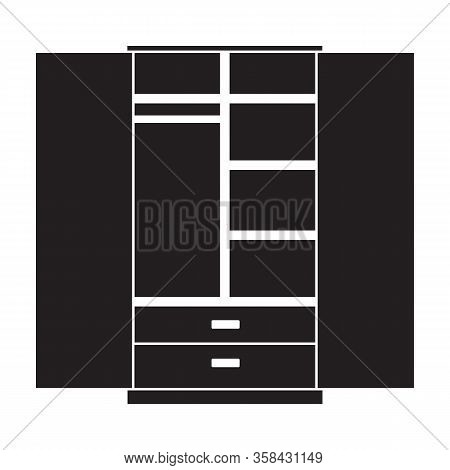 Cupboard Vector Icon.black Vector Icon Isolated On White Background Cupboard .