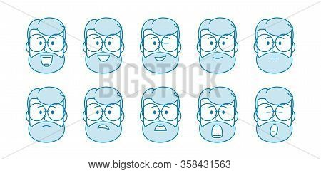 Line Set Of People Icons. Male Character With Different Emotions. Mens Faces Express Joy, Sadness, S