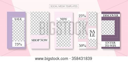 Modern Stories Vector Background. Funky Sale, New Arrivals Story Layout. Online Shop Rich Vip Graphi