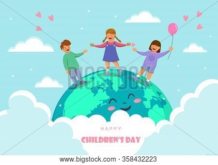 Childrens day. Friendship day. kids are laughing, together happily. Boys and girls celebration Childrens day.Design Childrens day greeting cards or posters from the concept of childrens friendship. Cartoon character Childrens day vector.