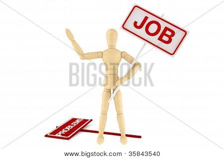 Wooden Dummy With Job Banner