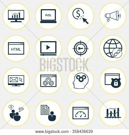 Marketing Icons Set With Keyword Ranking, Comprehensive Analytics, Client Brief And Other Intellectu