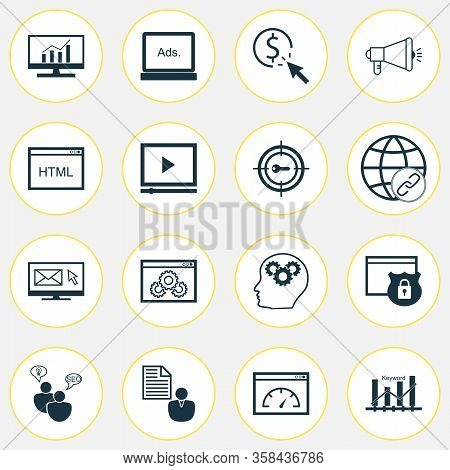 Advertising Icons Set With Keyword Ranking, Comprehensive Analytics, Client Brief And Other Intellec